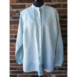 LL Bean Pin-Tuck Linen Tunic Long-Sleeve Sz. L